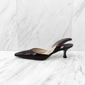 Manolo Blahnik- Carolyne Dark Raisin Patent Pumps